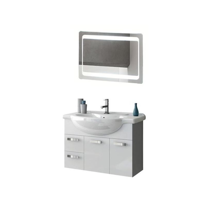 ACF by Nameeks PH27 Phinex 31-1\/2 Wall Mounted Vanity Set with Wood Cabinet, Ce Glossy White Fixture Single
