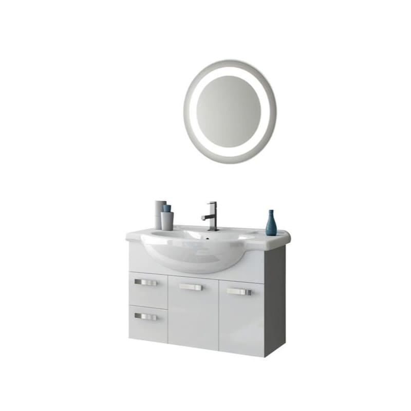ACF by Nameeks PH28 Phinex 31-1\/2 Wall Mounted Vanity Set with Wood Cabinet, Ce Glossy White Fixture Single