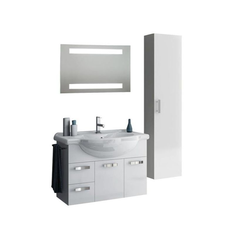 ACF by Nameeks PH34 Phinex 31-1\/2 Wall Mounted Vanity Set with Wood Cabinet, Ce Glossy White Fixture Single