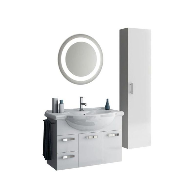 ACF by Nameeks PH36 Phinex 31-1\/2 Wall Mounted Vanity Set with Wood Cabinet, Ce Glossy White Fixture Single