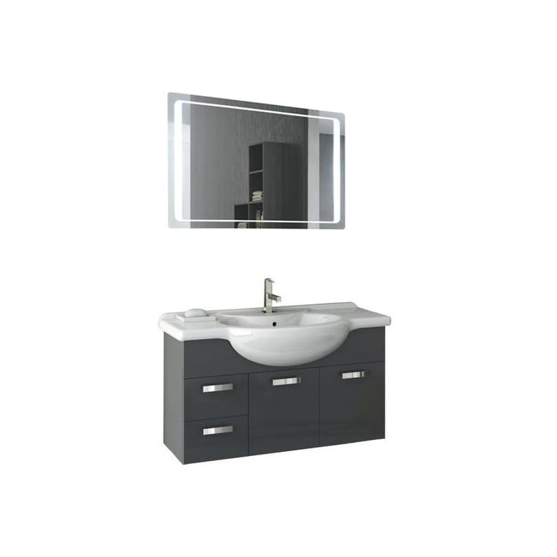 ACF by Nameeks PH39 Phinex 39-6\/15 Wall Mounted Vanity Set with Wood Cabinet, C Glossy Anthracite Fixture Single
