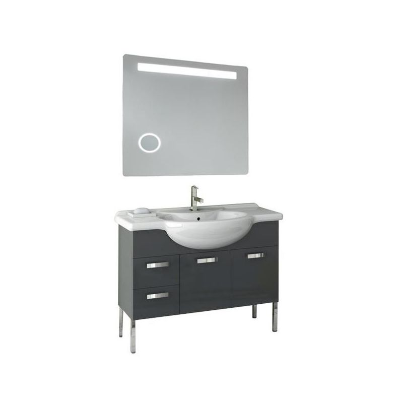 ACF by Nameeks PH41 Phinex 39-6\/15 Wall Mounted Vanity Set with Wood Cabinet, C Glossy Anthracite Fixture Single