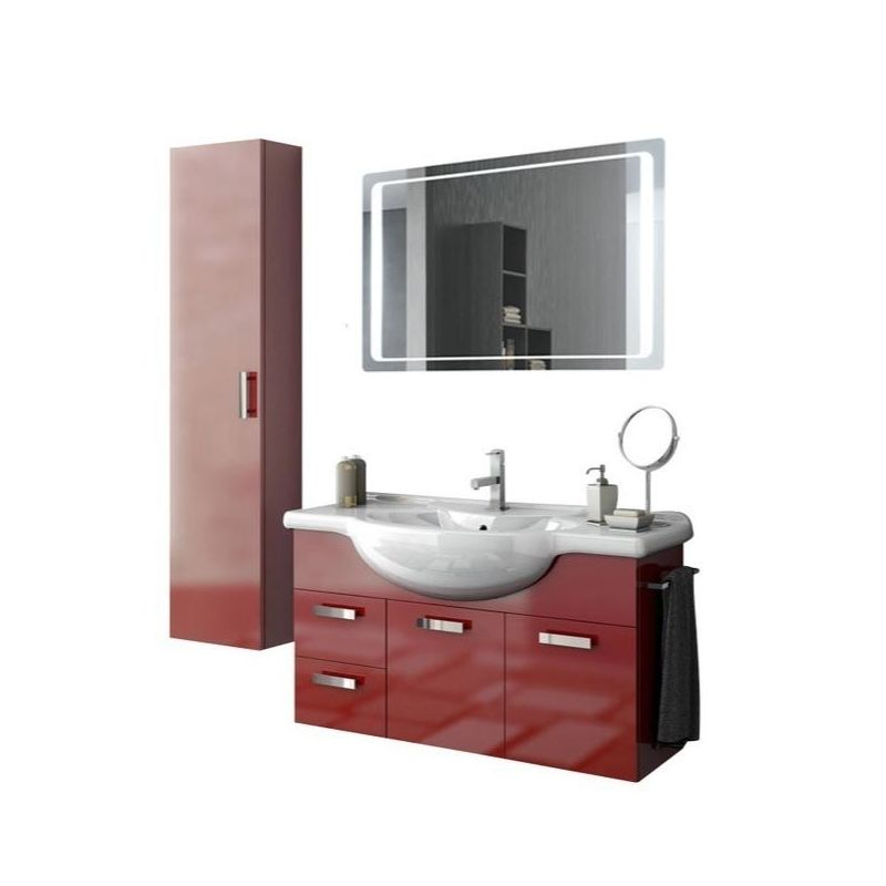 ACF by Nameeks PH42 Phinex 39-6\/15 Wall Mounted Vanity Set with Wood Cabinet, C Glossy Red Fixture Single