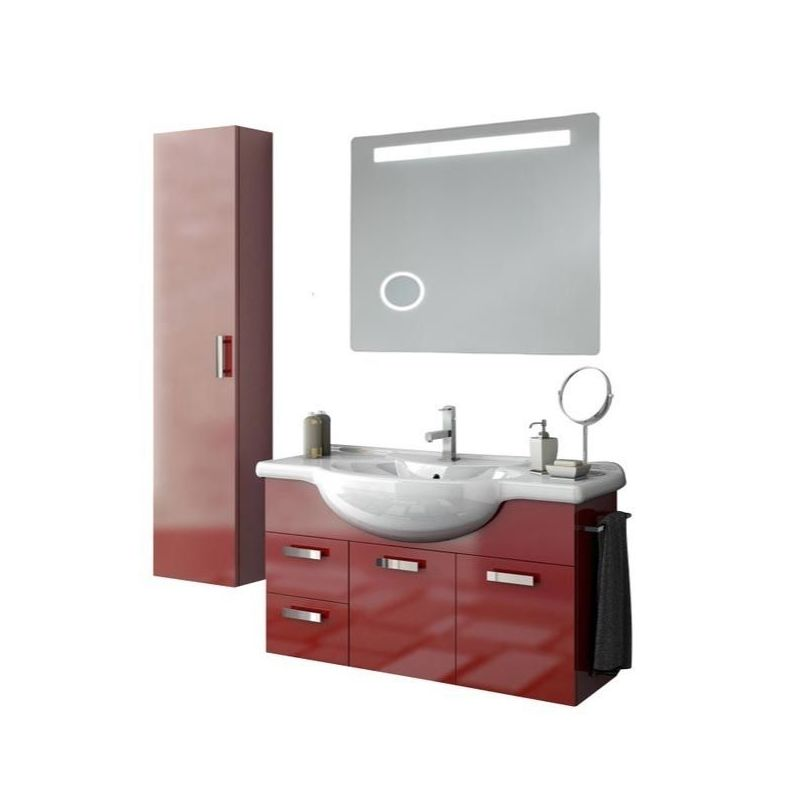 ACF by Nameeks PH43 Phinex 39-6\/15 Wall Mounted Vanity Set with Wood Cabinet, C Glossy Red Fixture Single
