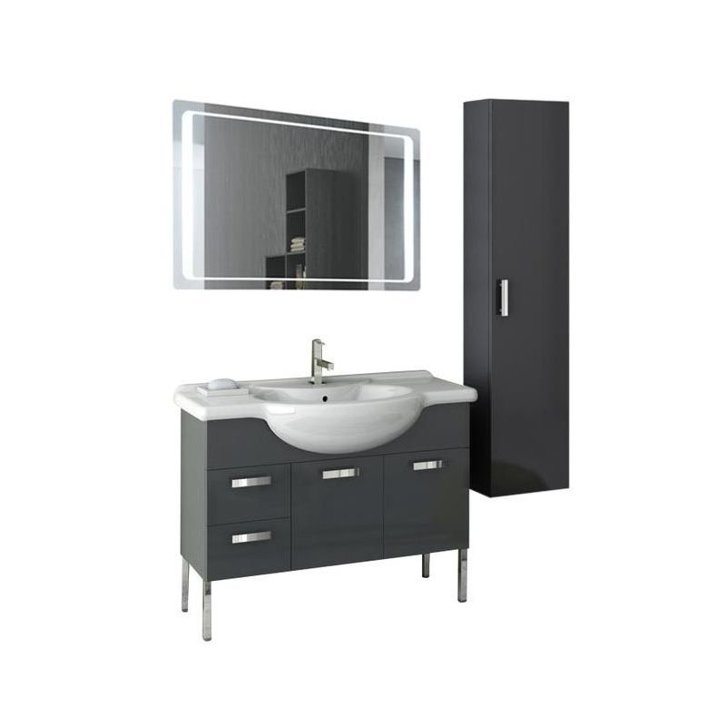 ACF by Nameeks PH44 Phinex 39-6\/15 Wall Mounted Vanity Set with Wood Cabinet, C Glossy Anthracite Fixture Single