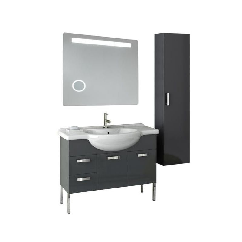 ACF by Nameeks PH45 Phinex 39-6\/15 Wall Mounted Vanity Set with Wood Cabinet, C Glossy Anthracite Fixture Single