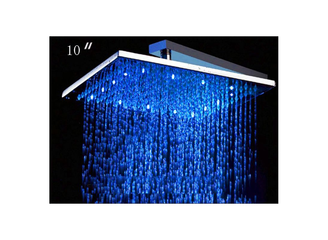 ALFI Brand LED5005 Chrome 10 Inch Square Multi Color LED Rain Shower Head F