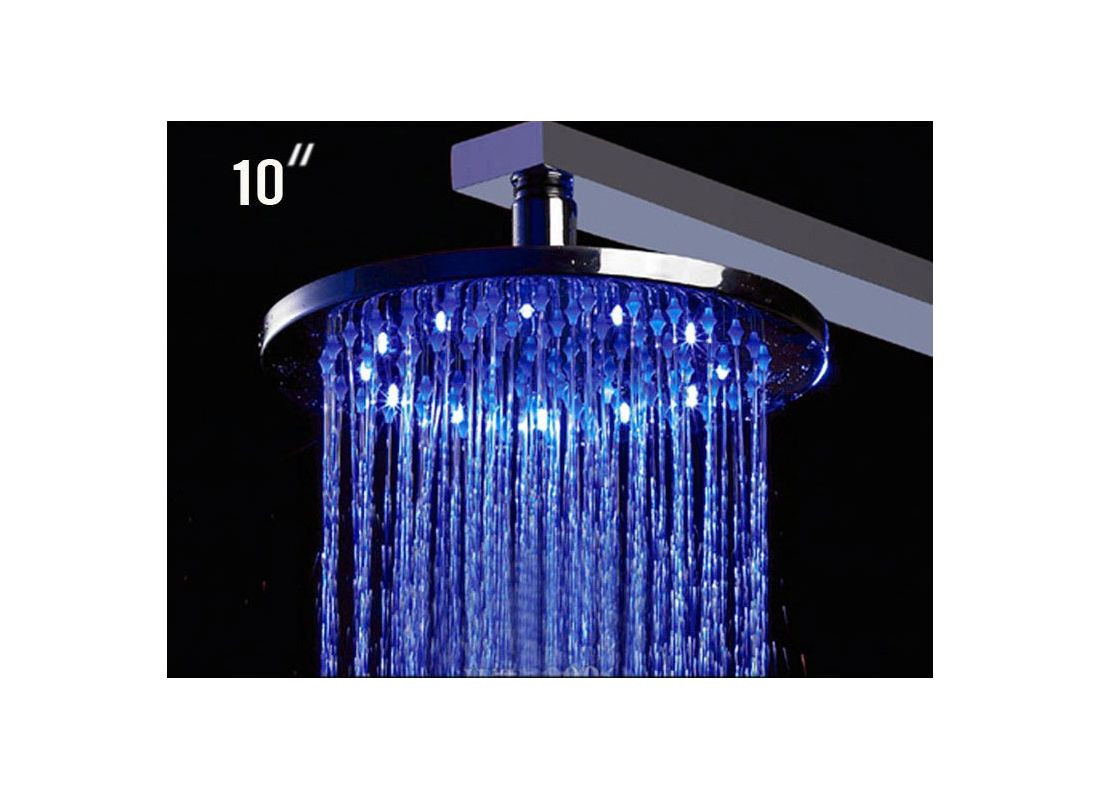 ALFI Brand LED5006 Chrome 10 Inch Round Multi Color LED Rain Shower Head Fa
