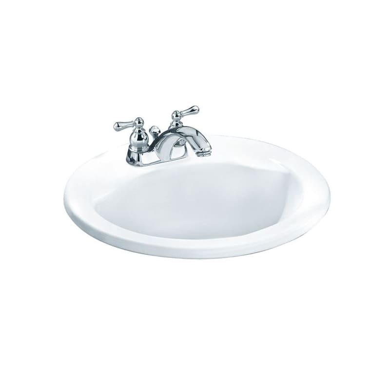 American Standard White Cadet 21 Drop In Porcelain Bathroom Sink With Everclean