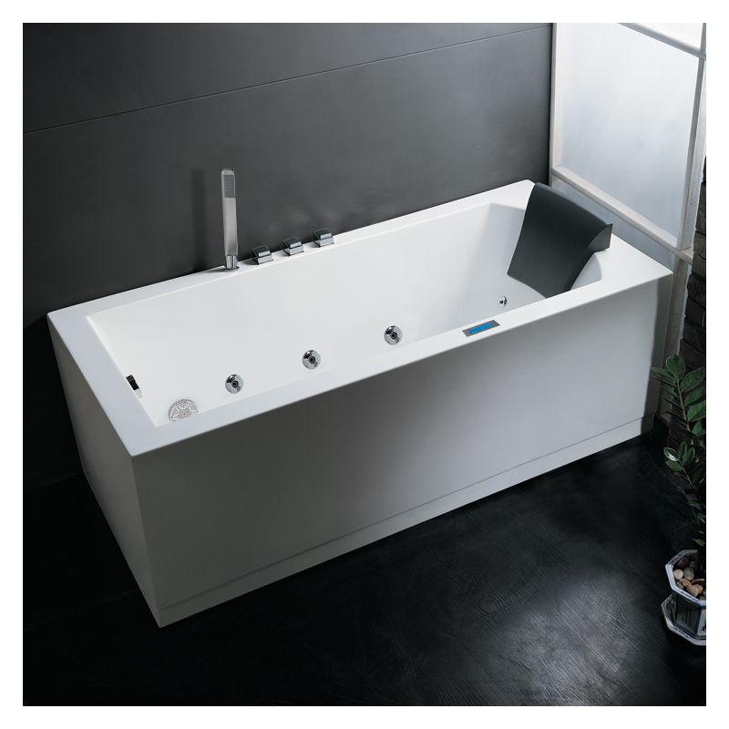 Ariel Am154jdtsz L 59 White Platinum Whirlpool Bath Tub 59 X 32 With Roman Tub Filler Faucet