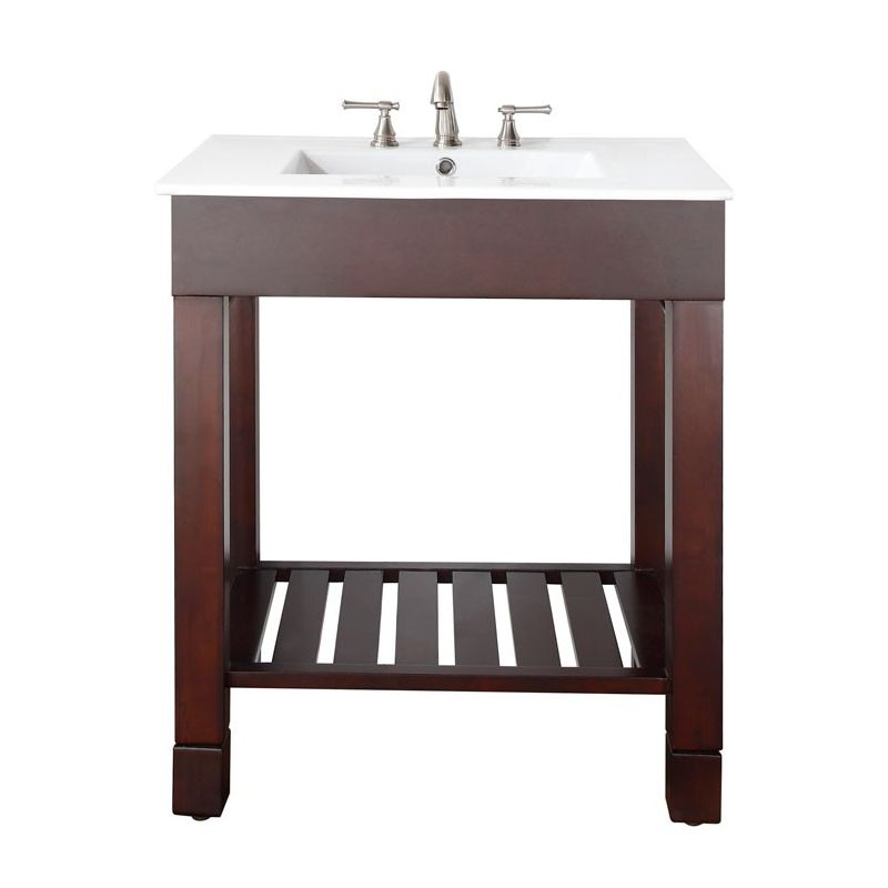 Avanity Loft V30 Dw Dark Walnut Loft 30 Floor Standing Vanity With Open Shelf And Built In