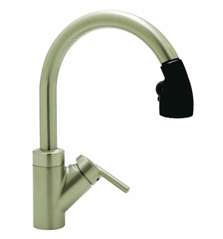 Blanco Faucets : Blanco 440617 Satin Nickel / Black Rados Single Handle Pullout Kitchen ...