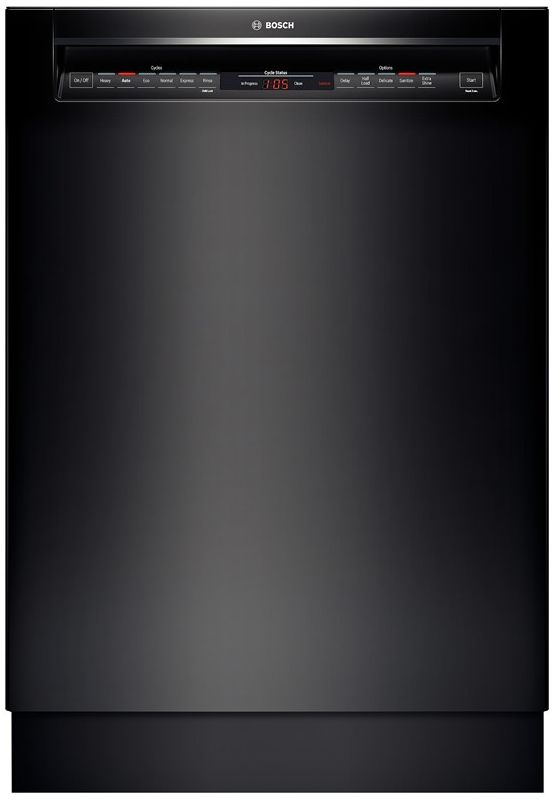 Bosch SHE68T5 24 Inch Recessed Handle Dishwasher with 3rd Rack from the 800 Seri Black Dishwashers Built-In