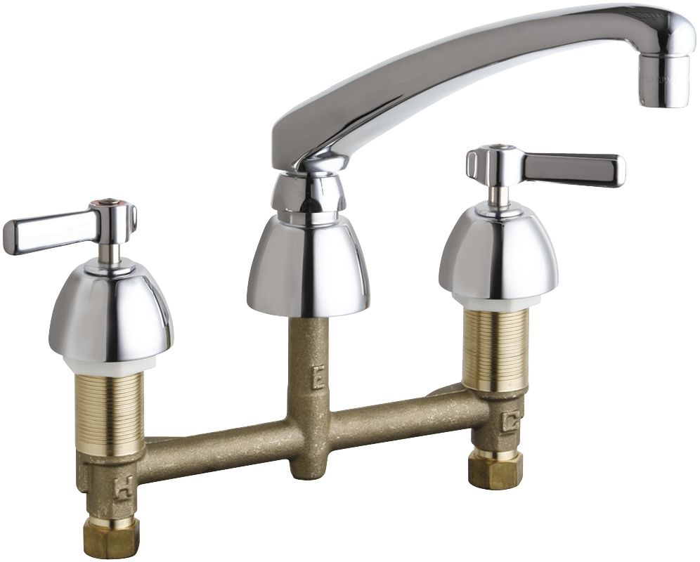Chicago Faucets 201 Al8 317abcp Chrome Commercial Grade Kitchen Faucet With Lever Handles 8