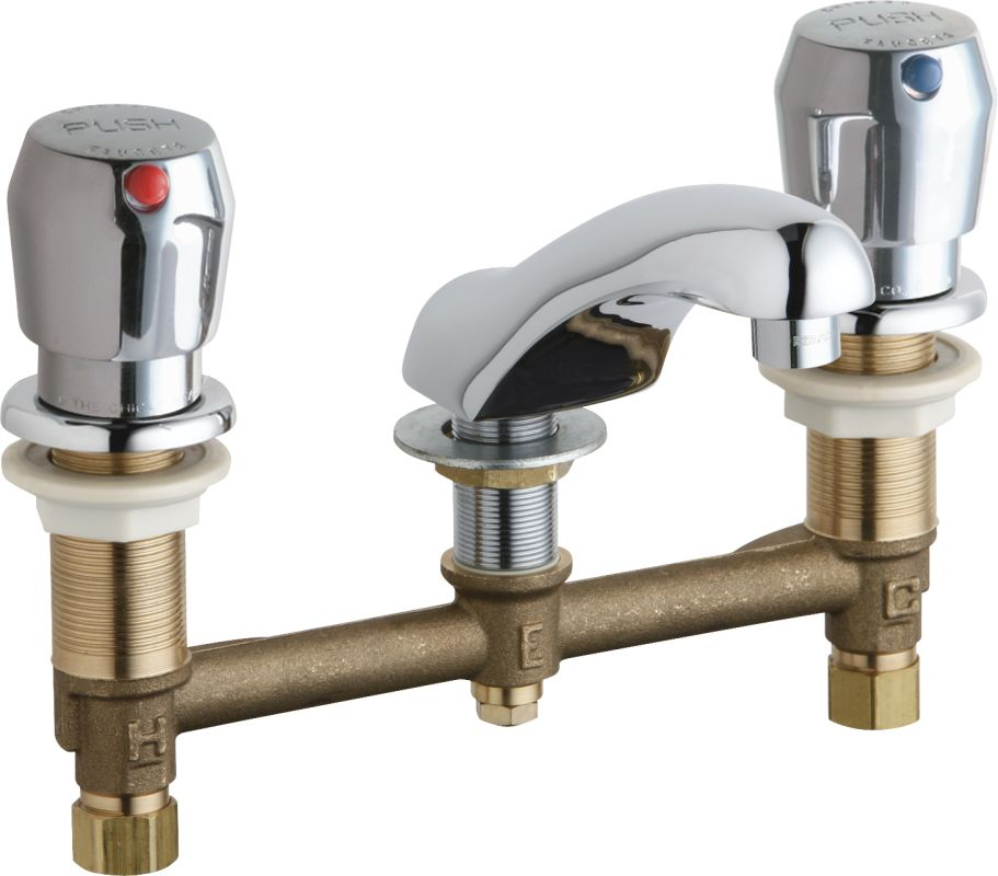 Chicago Faucets 404 V665abcp Chrome Widespread Bathroom Faucet With 8 Faucet Centers And Push
