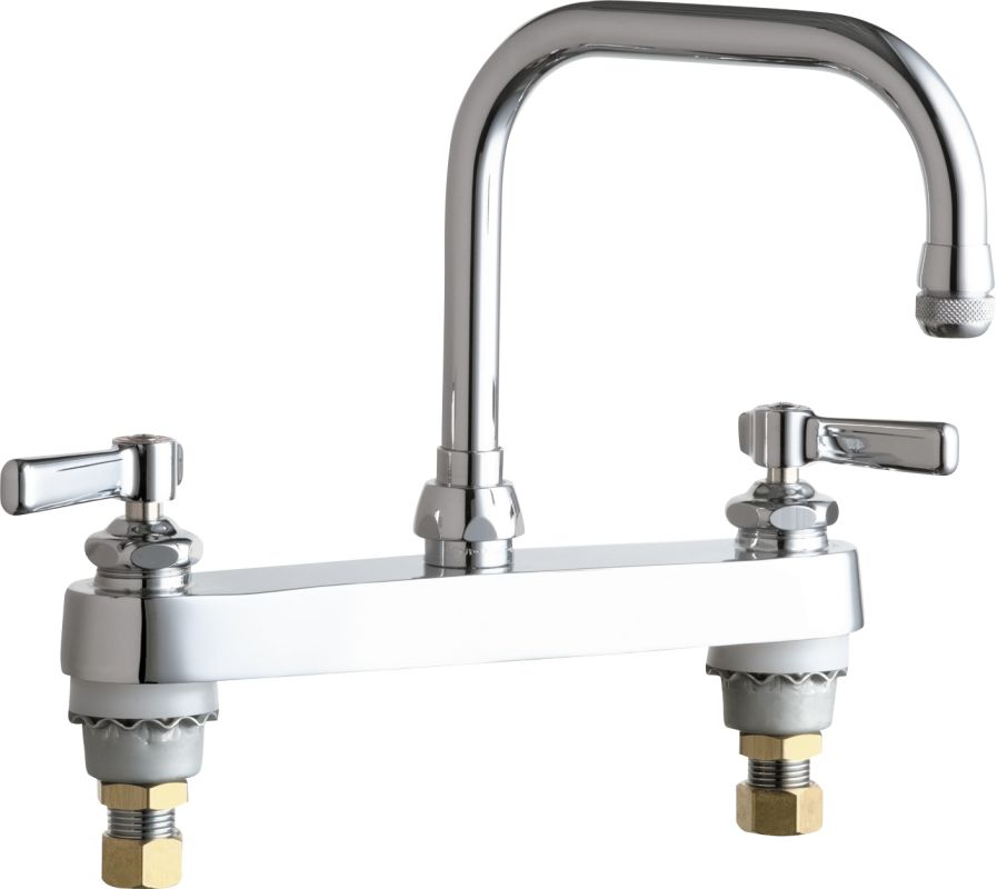 Chicago Faucets 527 Abcp Chrome Commercial Grade High Arch Kitchen Faucet With Lever Handles And