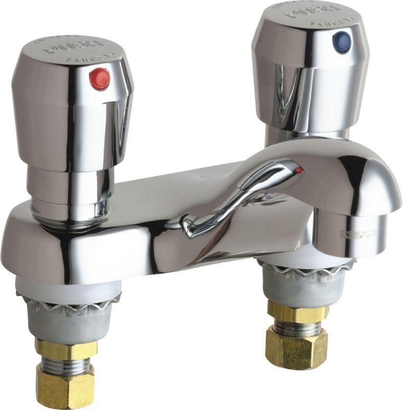 Chicago Faucets 802 V665abcp Chrome Centerset Bathroom