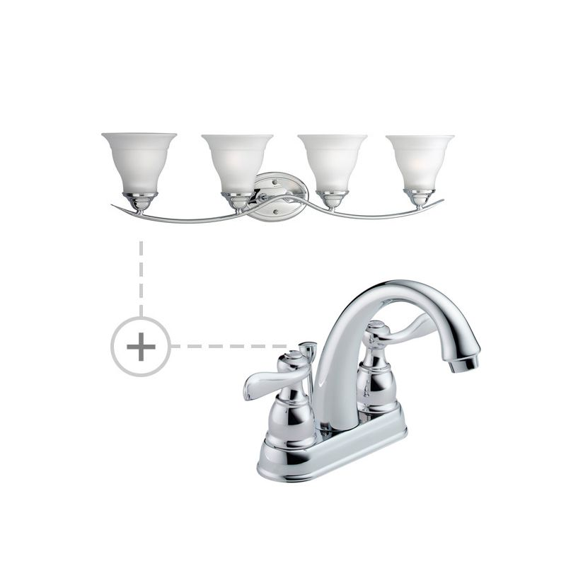 Delta B2596lf P3193 Chrome Chrome Windemere Centerset Bathroom Faucet Includes Matching