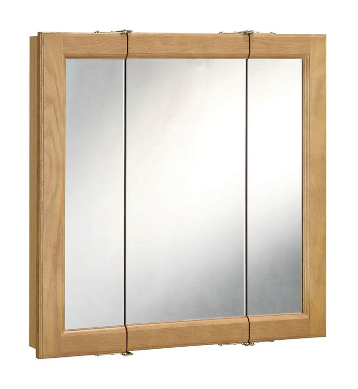 Design House 530576 Nutmeg Oak 36 Framed Triple Door Mirrored Medicine Cabinet From The