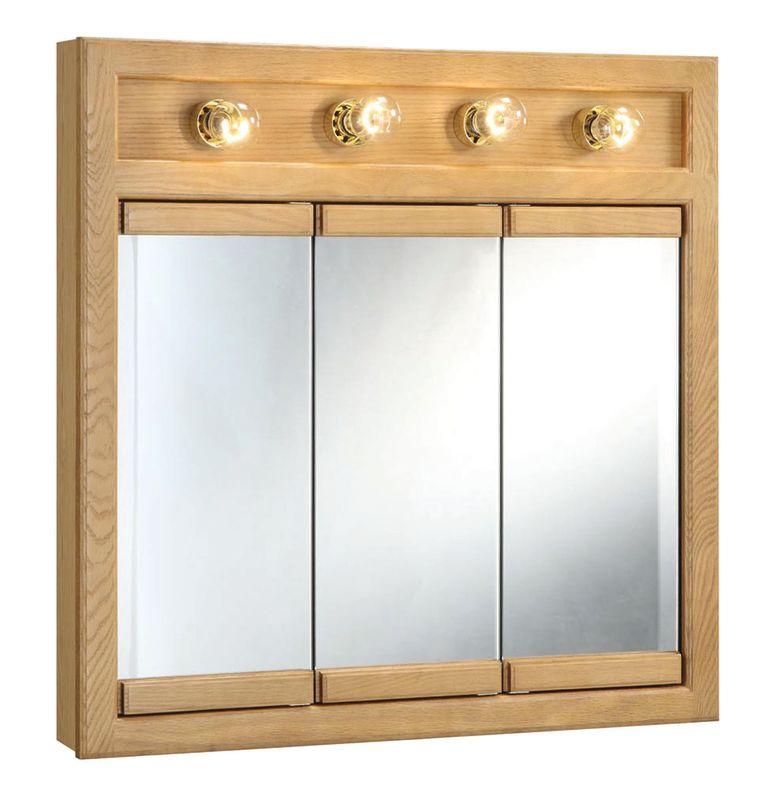 Design House 530600 Nutmeg Oak 30 Framed Triple Door Mirrored Medicine Cabinet With 4 Lights