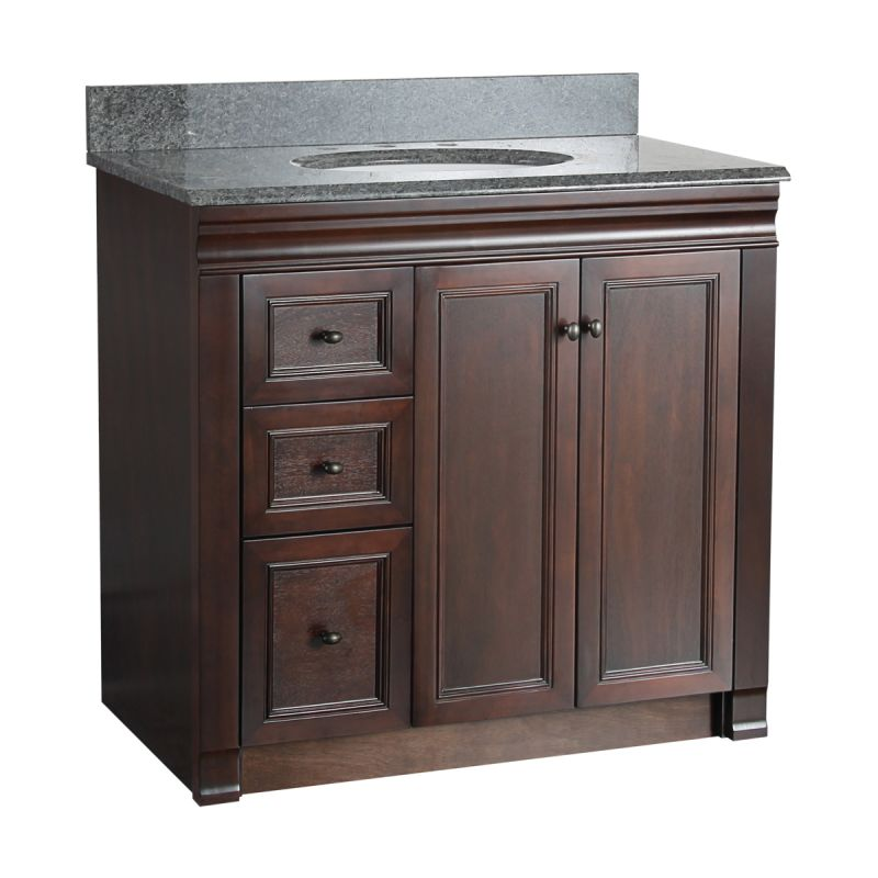Foremost shea3621dl tobacco shawna bathroom vanity 36 - Bathroom vanity with drawers on left ...