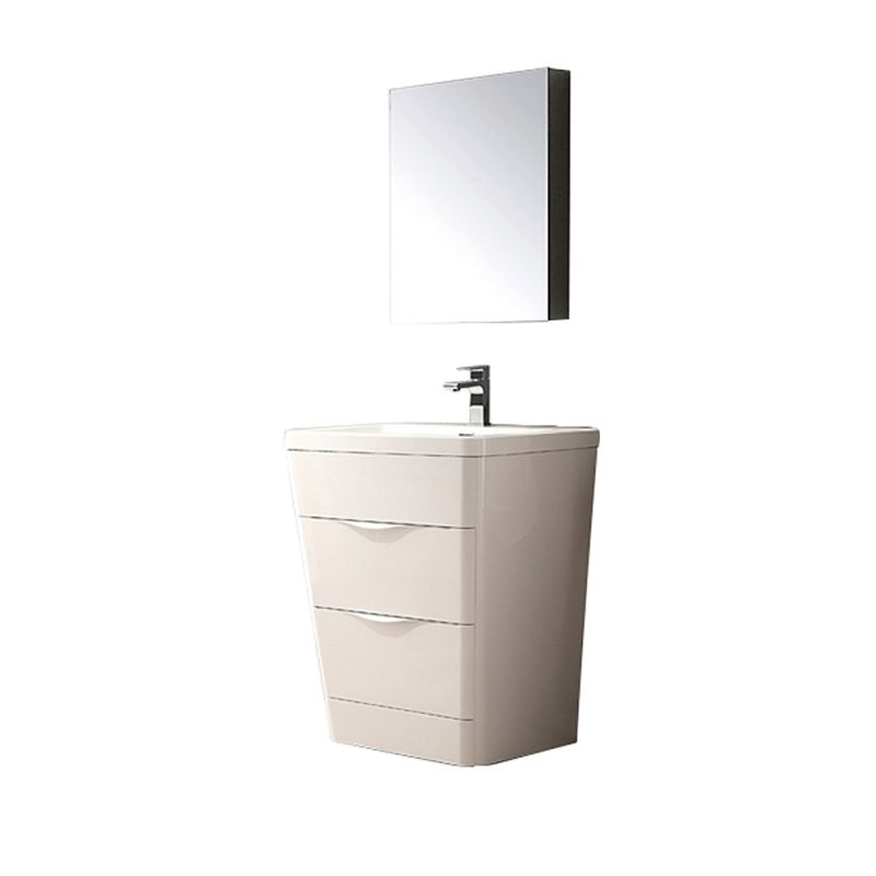 Fresca FVN8525 25-1\/2 Wide Free Standing Vanity Set with Engineered Stone Cabin Glossy White Fixture Single