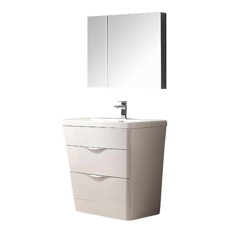 Fresca FVN8532 31-1\/2 Wide Free Standing Vanity Set with Engineered Stone Cabin Glossy White Fixture Single
