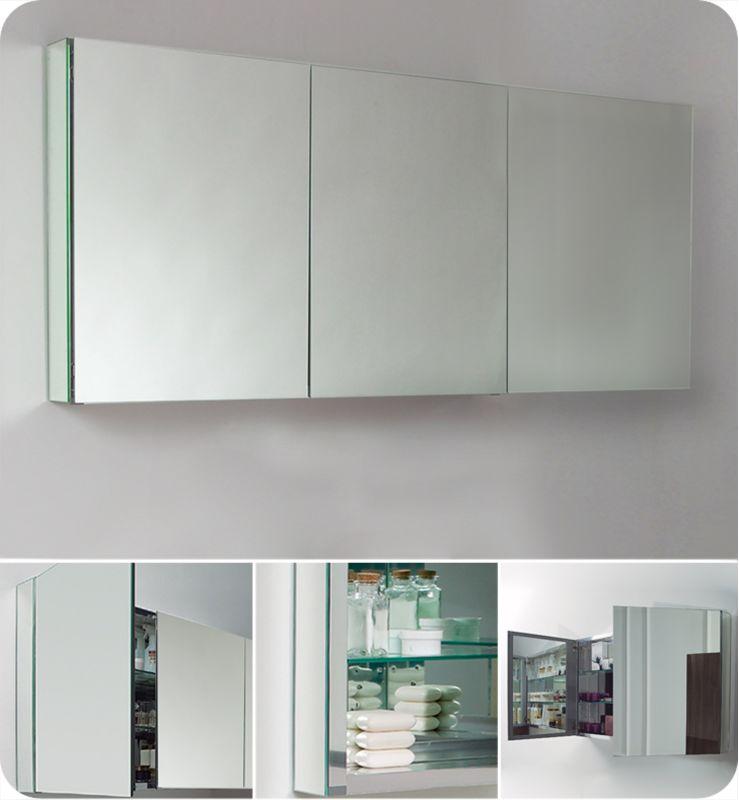fresca fmc8019 mirror 60 triple door frameless medicine. Black Bedroom Furniture Sets. Home Design Ideas
