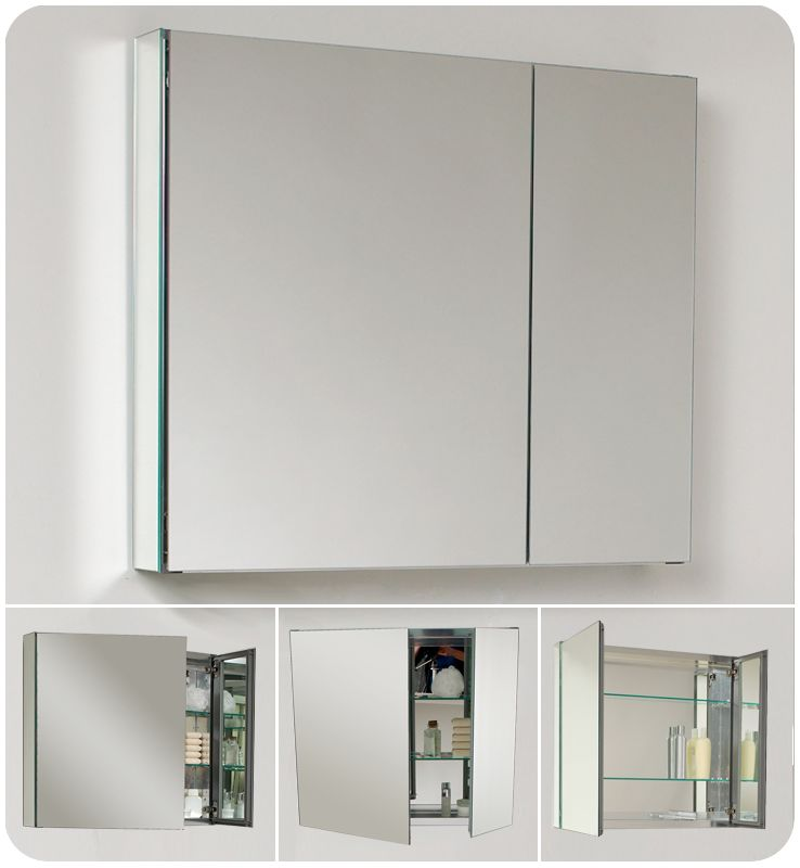 fresca fmc8090 mirror 30 double door frameless medicine cabinet with