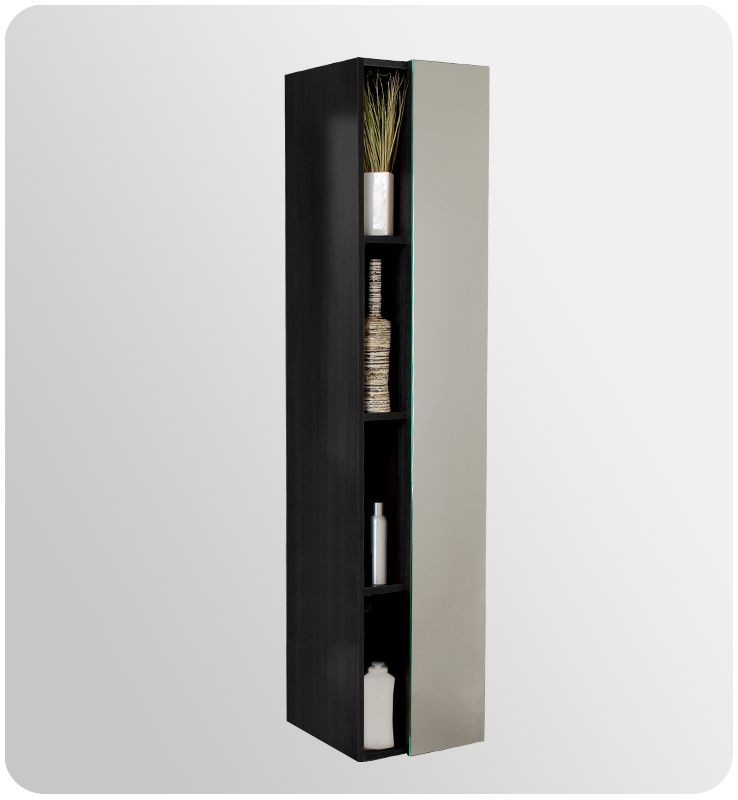 bathroom linen cabinet with four narrow storage shelves and mirrored