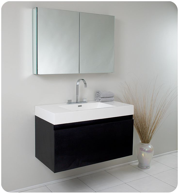 black mezzo 39 wall mounted mdf vanity with mirrored medicine cabinet