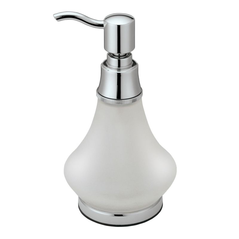 ... 1487 Chrome Frosted Glass Countertop Soap Dispenser - FaucetDirect.com
