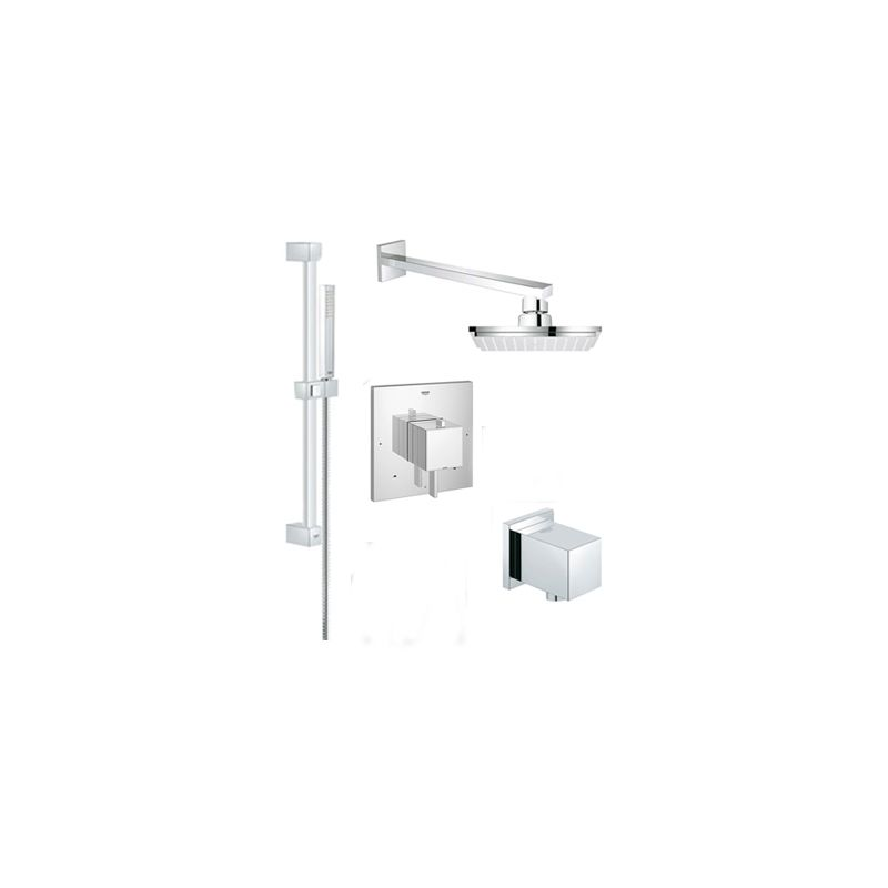 Grohe Grsqr02 Eurocube Pressure Balance Shower System With Single Function Sho Starlight Chrome