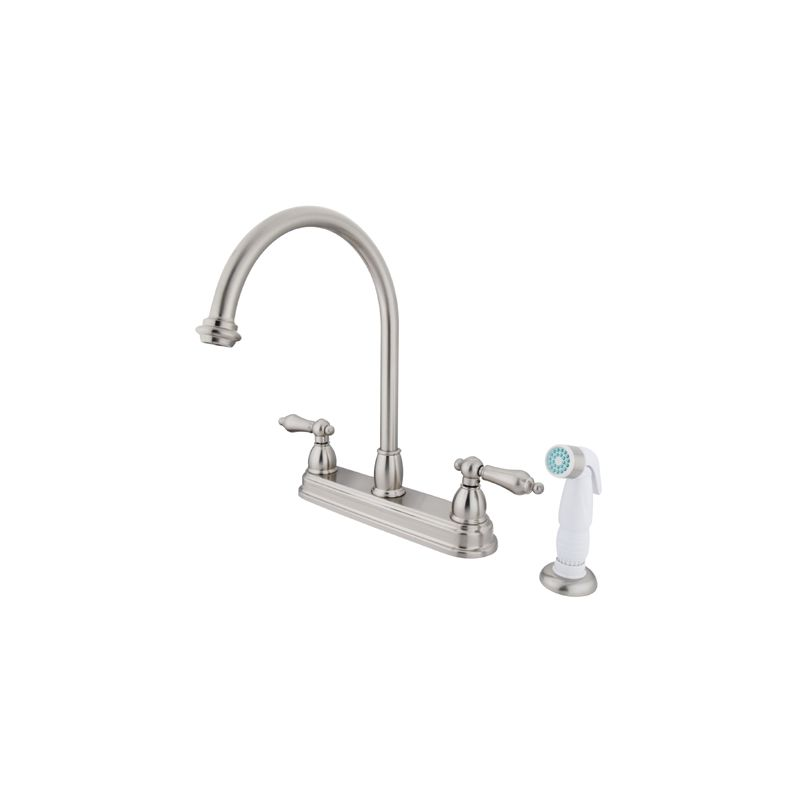 Kingston Brass Kb3758al Satin Nickel Restoration Centerset Kitchen Faucet With Metal Lever