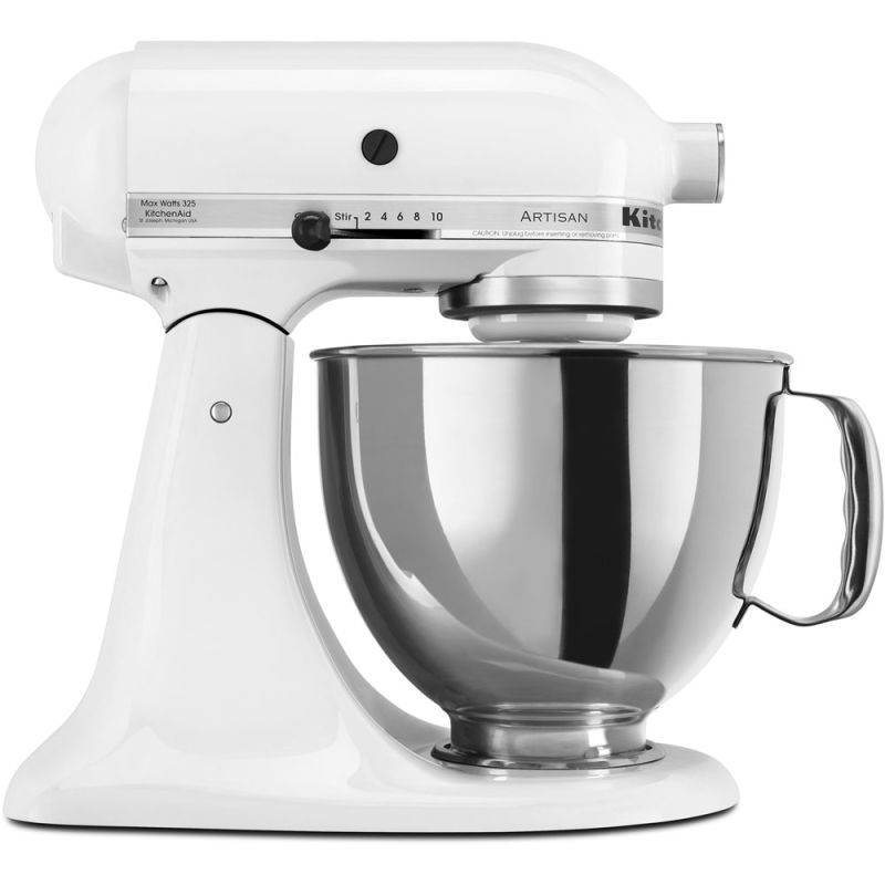 KitchenAid KSM150PS 10 Speed 5 Qt. Stand Mixer with Direct Drive Transmission White Small Appliances Stand Mixers
