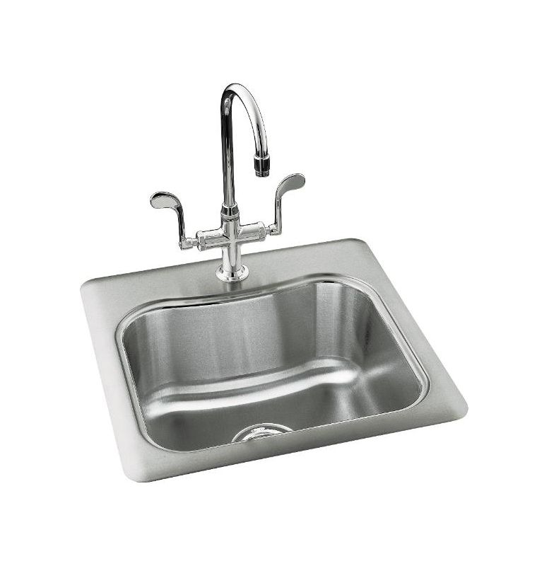 Kohler K-3363-3-NA Stainless Steel Single Basin Stainless Steel Bar ...