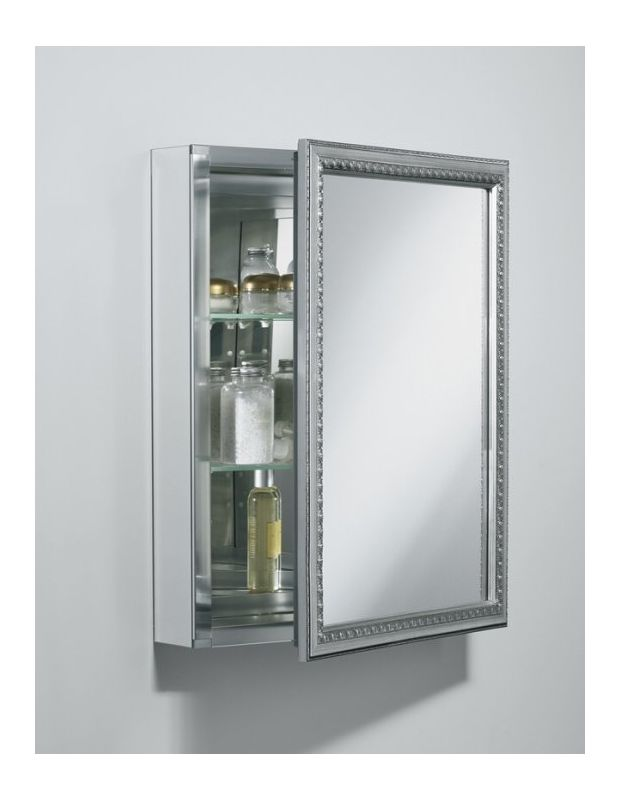 hinge framed mirrored medicine cabinet with silver finish