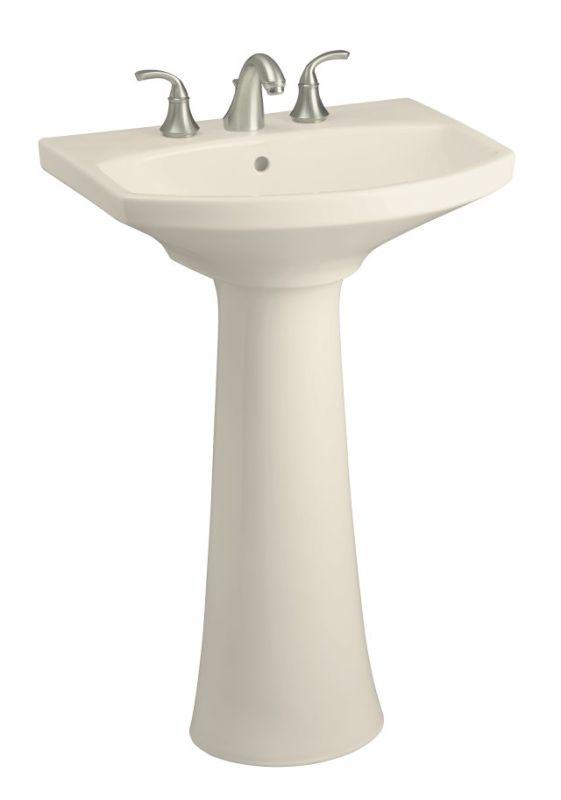 Kohler K-2362-8-47 Almond Cimarron pedestal lavatory with 8
