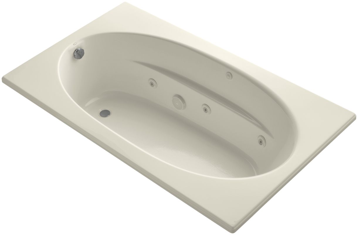 in jetted whirlpool bath tub with reversible drain