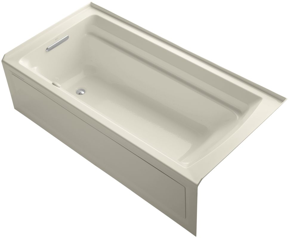 wall alcove airpool bath tub with left hand drain