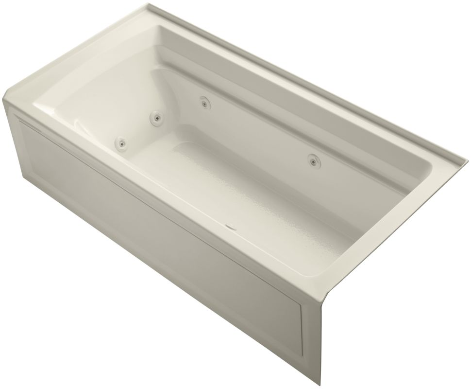 jetted whirlpool bath tub with right side drain