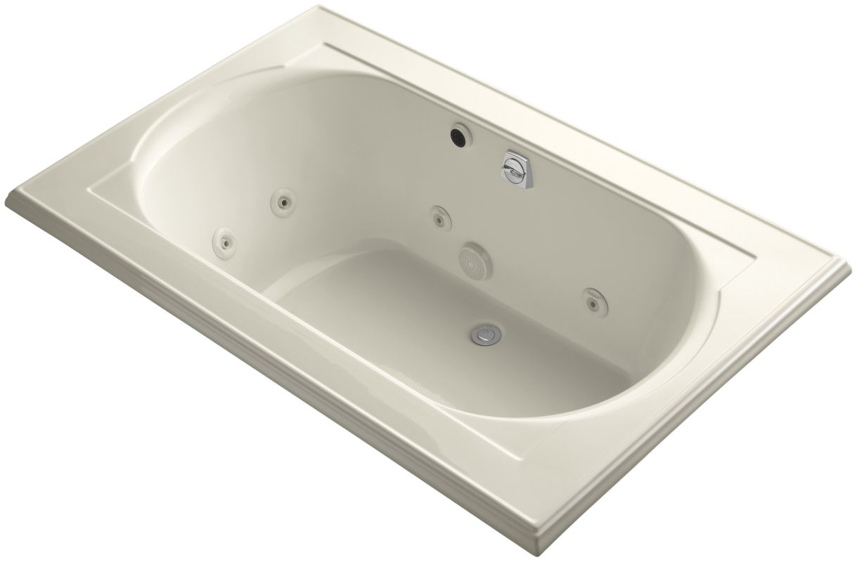 drop in jetted whirlpool bath tub with center drain