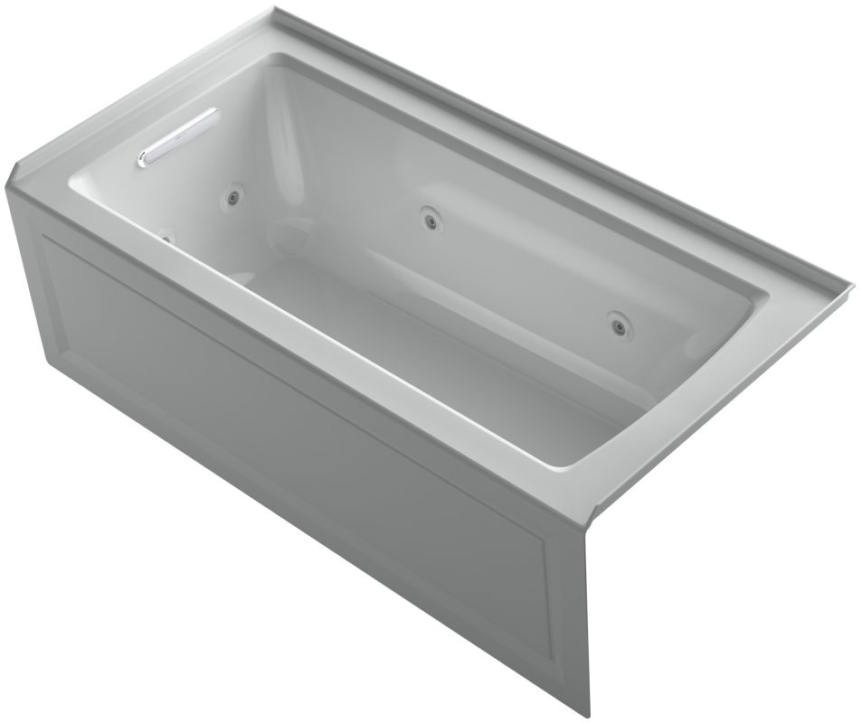 wall alcove jetted whirlpool bath tub left drain