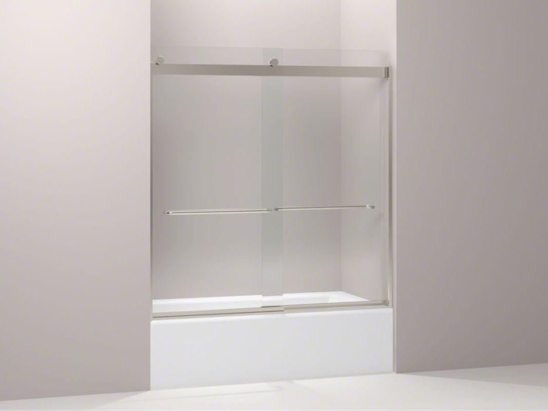 Kohler k 706004 l mx matte nickel levity sliding tub door for Sliding glass doors tub