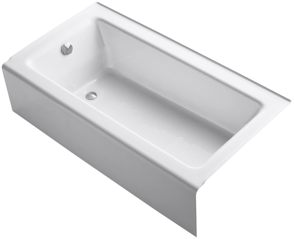 kohler k 875 0 white bellwether collection 60 three wall alcove bath