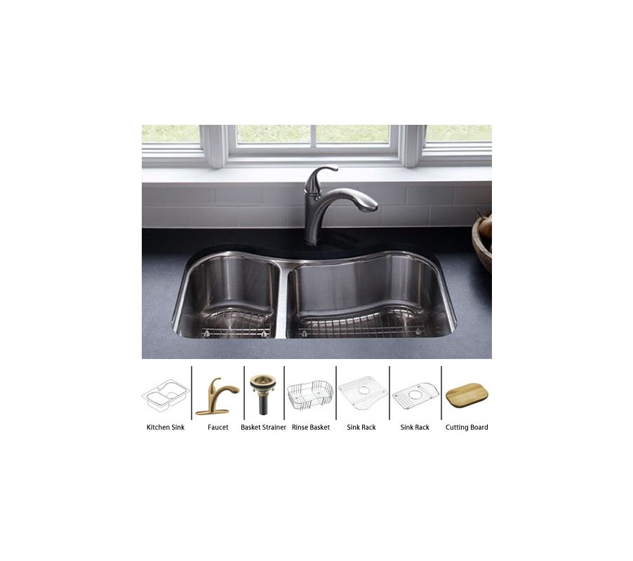 Kohler Staccato-K-3891-Package-BV Stainless Sink / Brushed Bronze ...