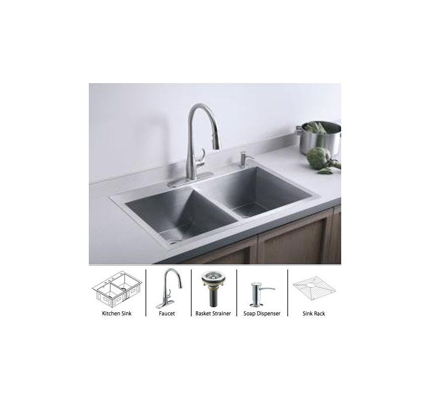 Complete Kitchen Cabinet Packages: Kohler Vault-K-3820-3-Package-CP Stainless Sink / Polished