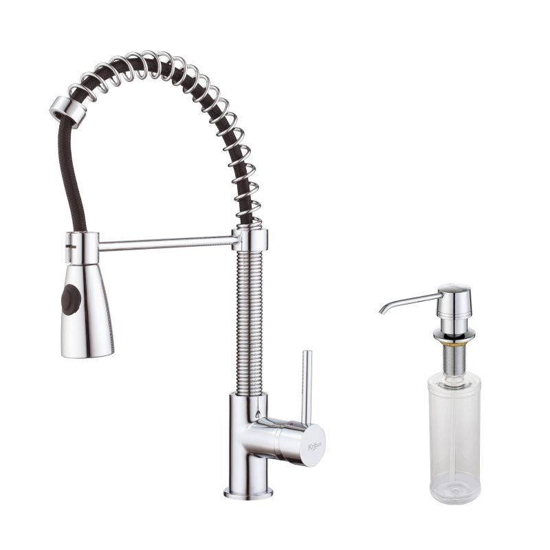 Kraus Kpf 1612 Ksd 30ch Chrome Commercial Style Pre Rinse Kitchen Faucet With Soap Dispenser