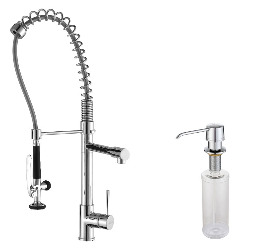 Chrome Commercial Style Pot Filler Kitchen Faucet with Pre Rinse Spray ...