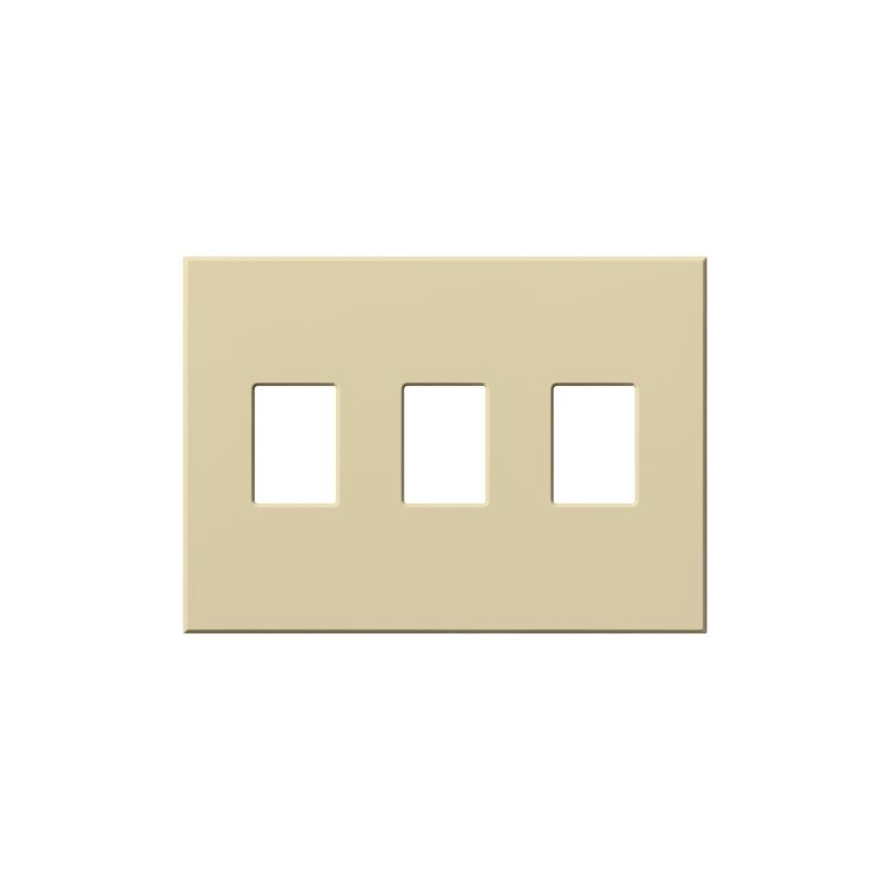 lutron vwp3 architectural three gang wall plate for three dimmers or switches ivory indoor. Black Bedroom Furniture Sets. Home Design Ideas